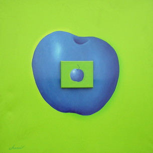 Manzana Ciánotica - Técnica mixta sobre tela - 91 x 91 cm.- 2006.