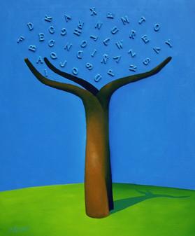 Árbol 09 - Técnica mixta sobre tela - 60 x 50 cm.- 2006.