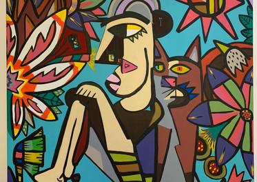 Mujer con Gato -  100 x  100cm - Acrílico sobre tela