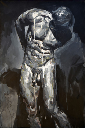 Estudio para un martirio de San Sebastian - Látex sobre tela - 60 x 90 cm - 2016.