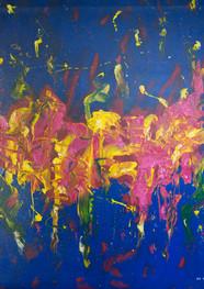 Abstracción azul - Acriílico sobre tela - 90 x 100 cm.