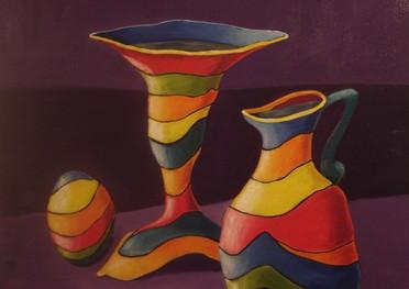 Jarras de Colores - Acrílico sobre tela - 74 x 82 cm.