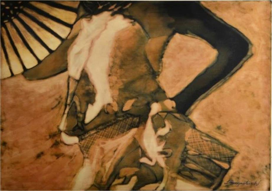 Mujer con Abanico 0.60 x 0.80 Develado sobre Seda