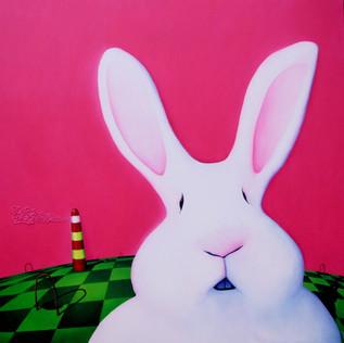 Run Rabbit Run- Técnica mixta sobre tela- 150 x 150 cm.- 2012.