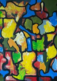 Mosaico de color - Acrílico sobre tela - 92 x 86 cm.