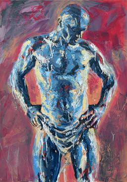 Desnudo Azul - Acrílico sobre tela - 70 x 100 cm - 2017.