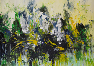 Abstracto de fondo blanco - Acrílico sobre tela - 92 x 92 cm.