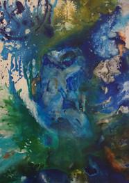 Shapes of blue- Técnica mixta sobre tela -100 x 130 cm. - 2019.