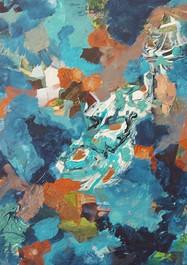 Galaxy -  Artes mixtas sobre madera - 50 x 50 cm