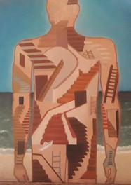 Frente al mar- Óleo sobre cartón- 40 x 50 cm.