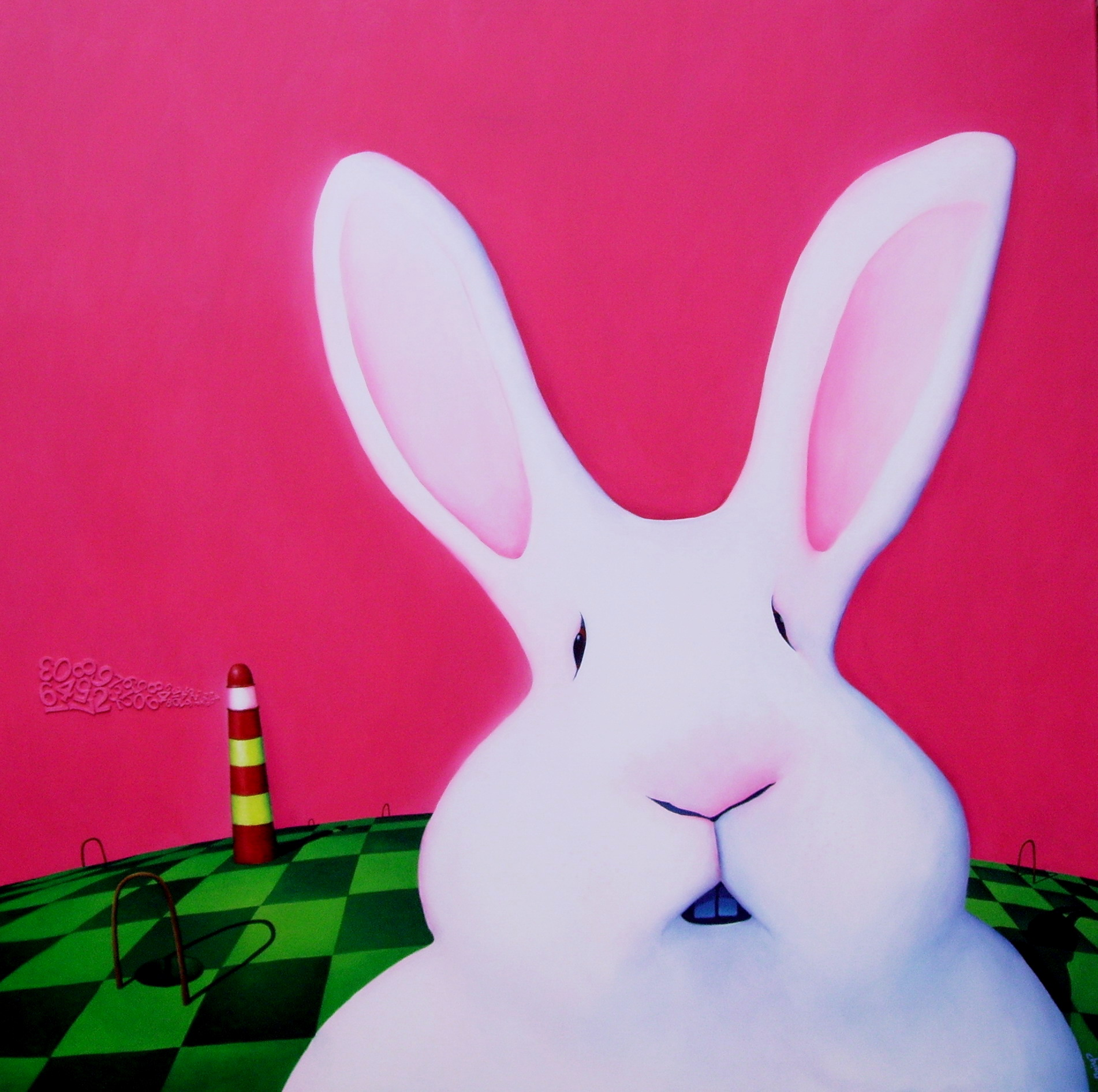 Run Rabbit Run- Técnica mixta sobre tela- 150 x 150 cm.- 2012.