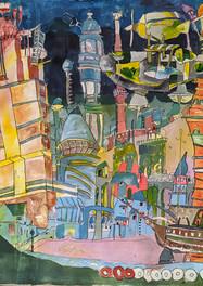 La Ciudad de mi Vida- Tecnica mixta sobre tela - 150 x 150 cm.