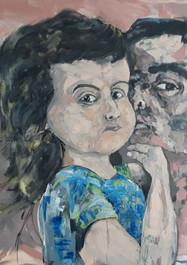 Selfie padre e hija - Acrílico sobre tela - 150 x 120 cm - 2020.