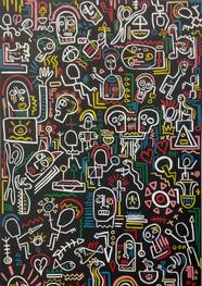 Freak wall - Técnica mixta sobre tela - 200 x 160 cm.