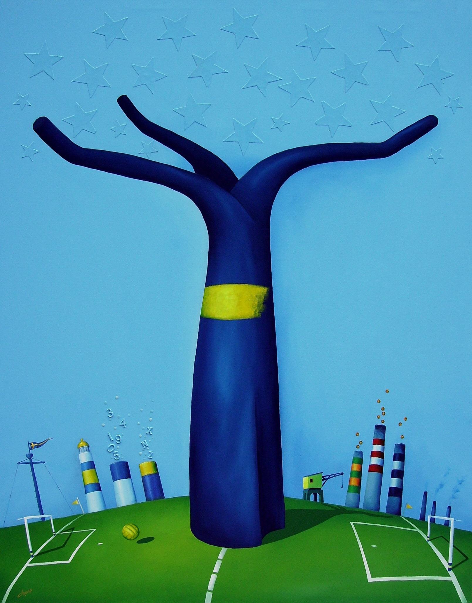 Árbol Xeneize- Técnica mixta sobre tela- 150 x 120 cm.