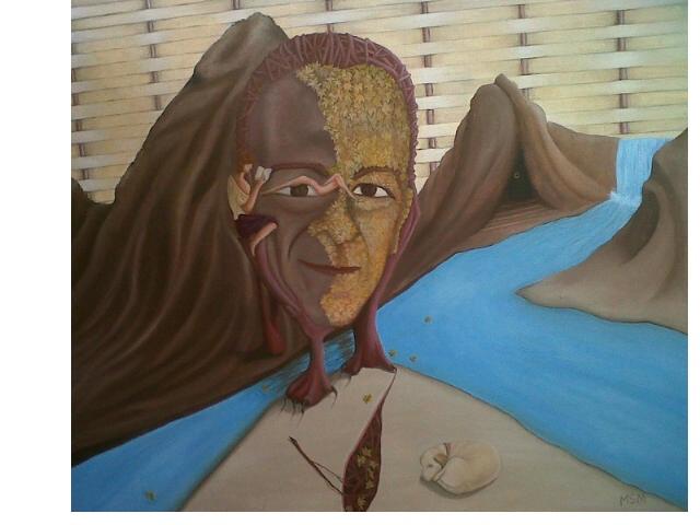 Autorretrato del fantasma de Cantervil- Óleo sobre tela- 60 x 50 cm.
