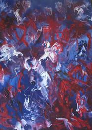 Juego de rojos y azules - Óleo sobre tela - 50 x 70 cm.