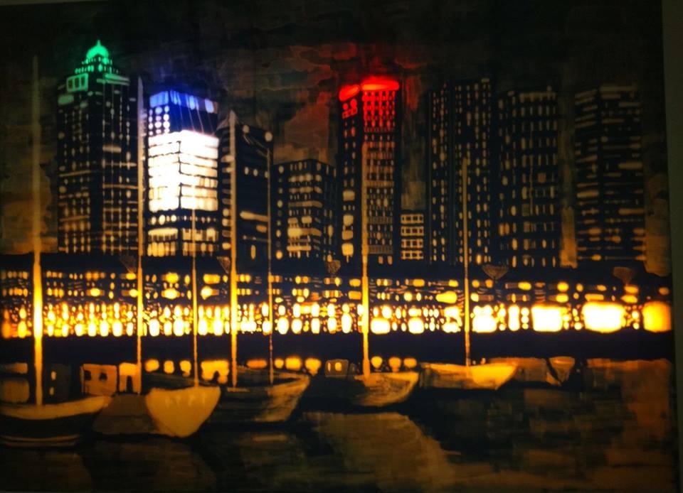 Noche en Madero Develado en seda Luminico  1.20 x 1.00