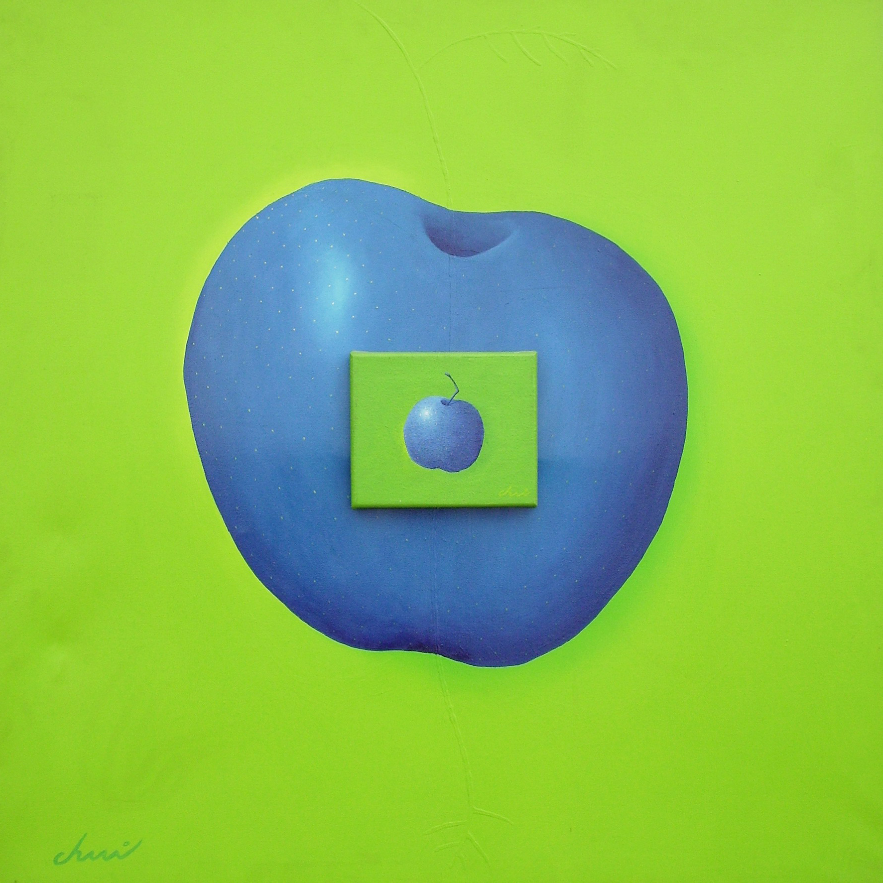 Manzana Ciánotica- Técnica mixta sobre tela -91 x 91 cm.- 2006.