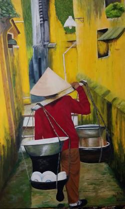 Vendedora ambulante de Vietnam