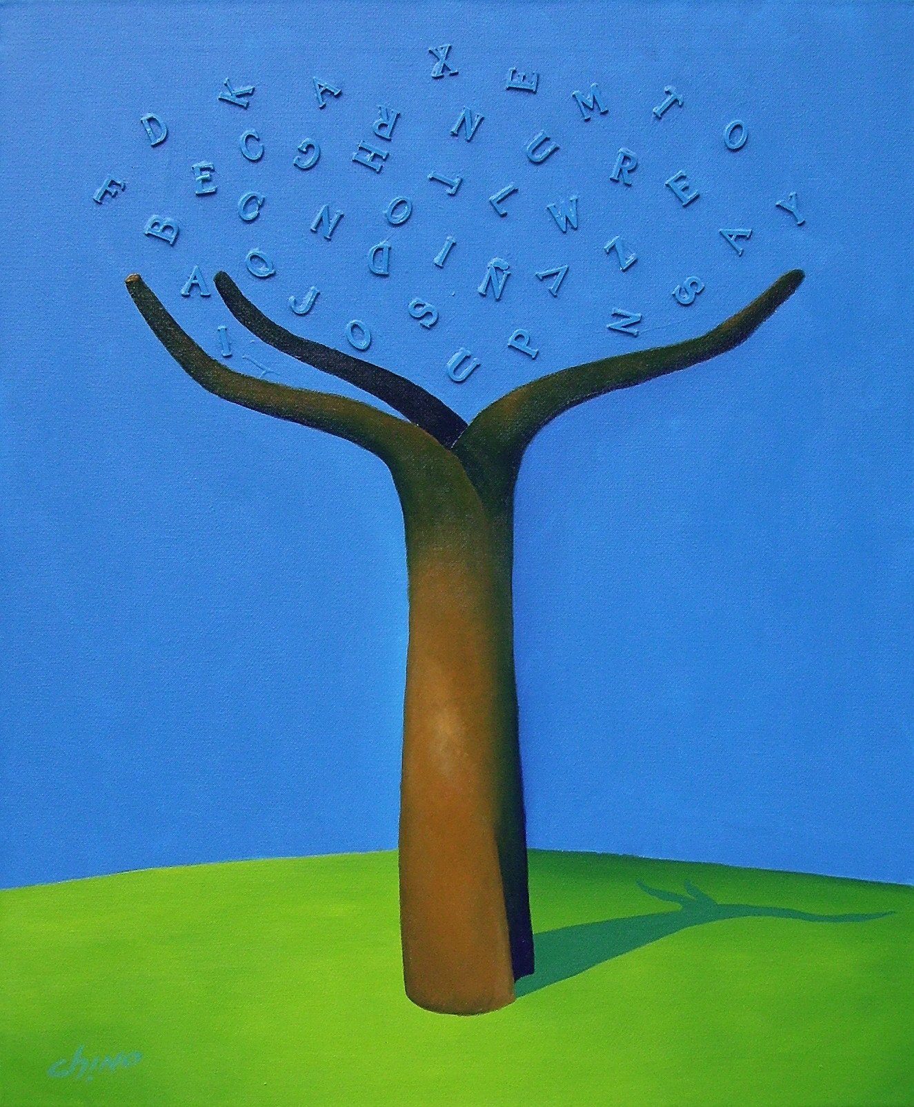 Árbol 09- Técnica mixta sobre tela- 60 x 50 cm.- 2006.