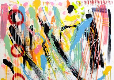 Cuerdas - Técnica mixta sobre tela - 160 x 120 cm