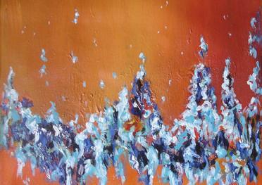 Gamas de azules - Acrílico sobre tela - 30 x 30 cm.