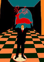 El hombre que sostiene al ciervo rojo- Técnica digital impreso sobre papel- Copia única tamaño a elección.
