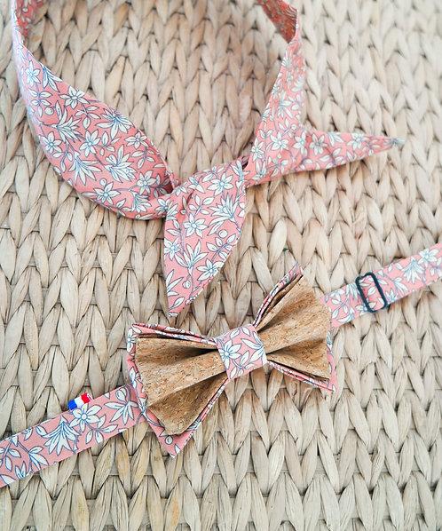 Duo Headband + Noeud papillon en liège assorti - Pink
