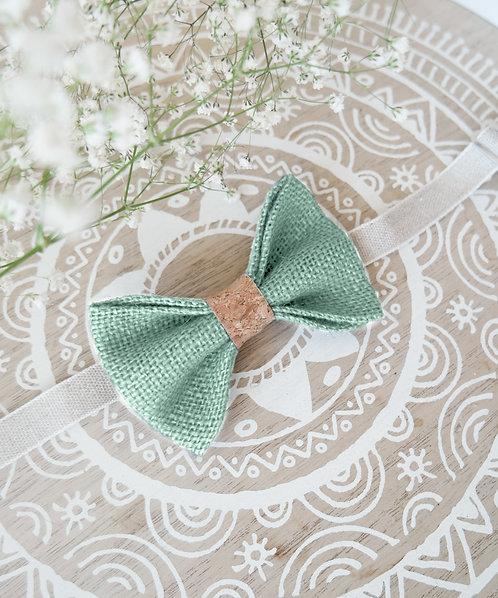 Noeud papillon en toile de jute vert d'eau et liège