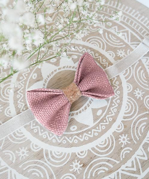 Noeud papillon en toile de jute rose poudré et liège