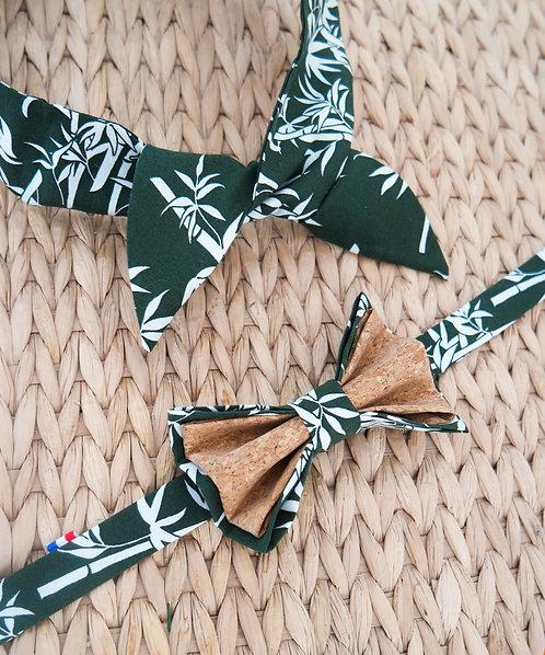 Duo Headband + Noeud papillon en liège assorti - Bambou