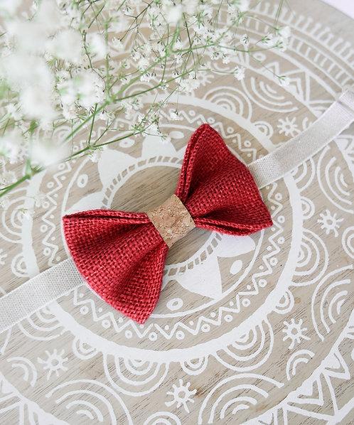Noeud papillon en toile de jute et liège rouge
