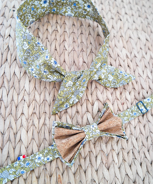 Duo Headband + Noeud papillon en liège assorti -Liberty