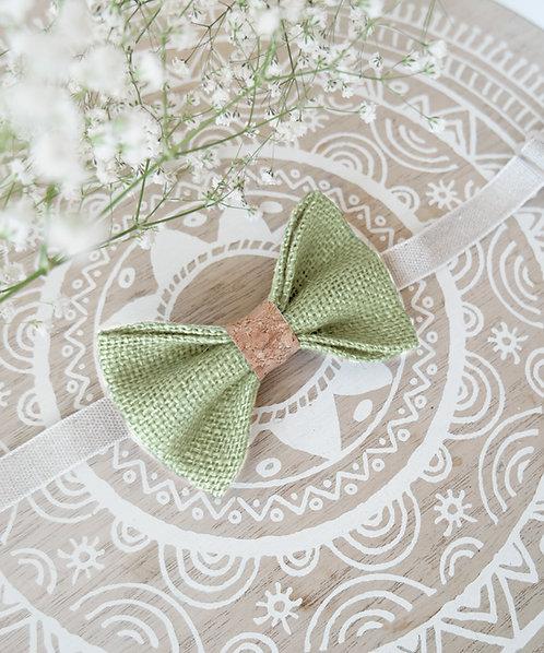 Noeud papillon en toile de jute vert amande et liège