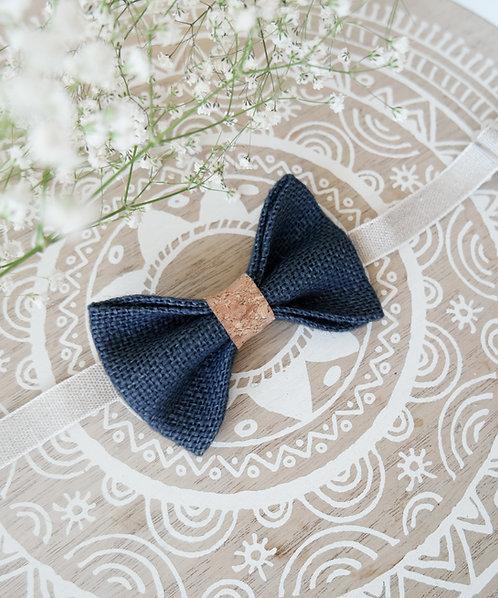Noeud papillon en toile de jute et liège bleu marine