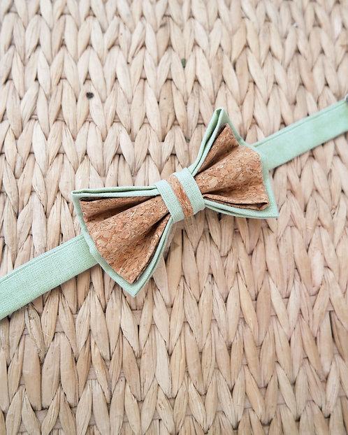 Noeud papillon en liège - Vert d'eau