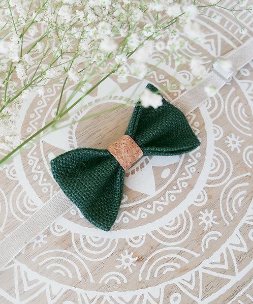 Noeud papillon en toile de jute et liège vert
