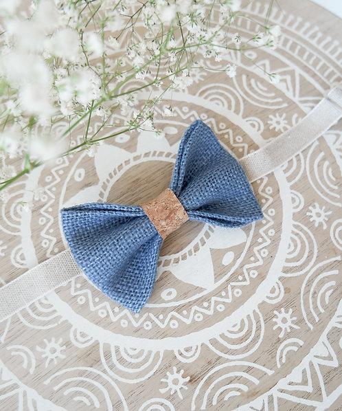 Noeud papillon en toile de jute et liège bleu clair