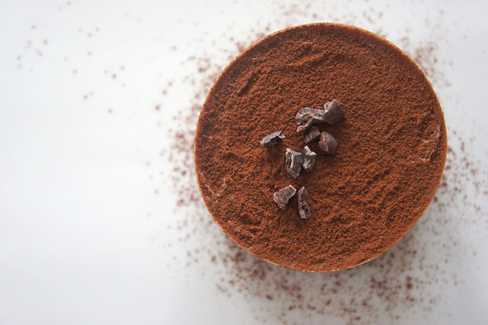 Cocoa dusted chcolate with cacao nibs