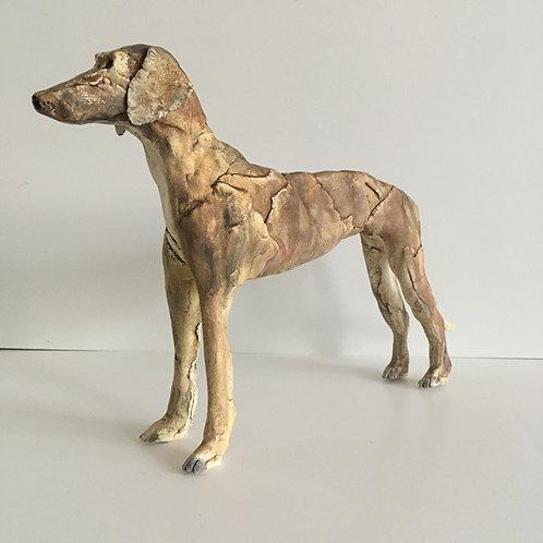 Rough Coated Large Lurcher Sculpture