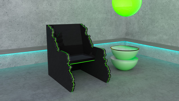 Furniture design // LED Acrylic chair + moonlet side table
