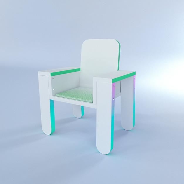 Furniture design // MDF irradiated rainbow porch chair