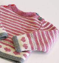 ピンクのストライプベビーセーター