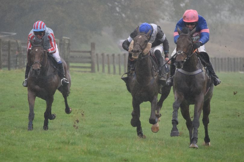 Will Biddick (far right) rides a leg of a treble at Bishop's Court earlier this season