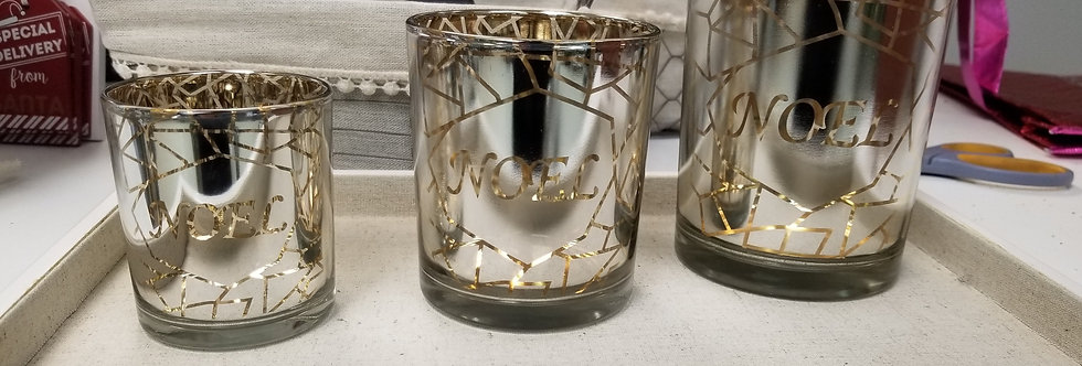 "Silver/Gold/ Noel Votive Holders - Set of 3 - 3"",4"", 5""  (994484)"