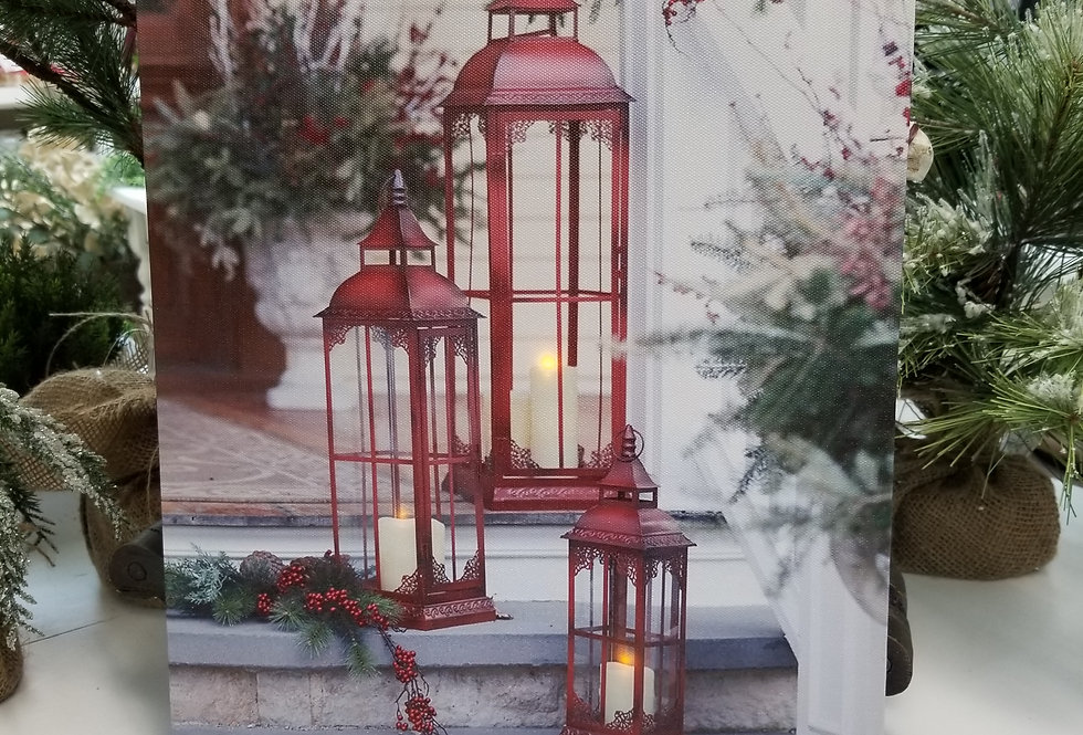 Picture - LED Red Porch Lantern Canvas - 15.5 H x 11.5 W  (23660)