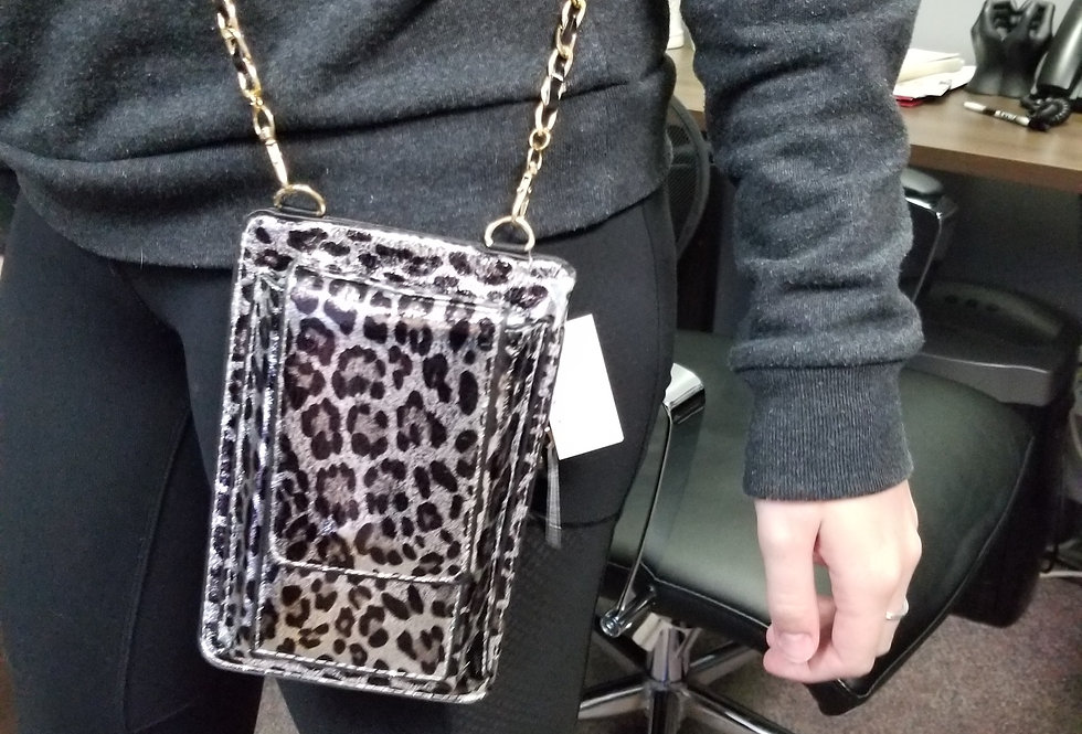 Cell Phone Cross Body Bag - Leopard Silver