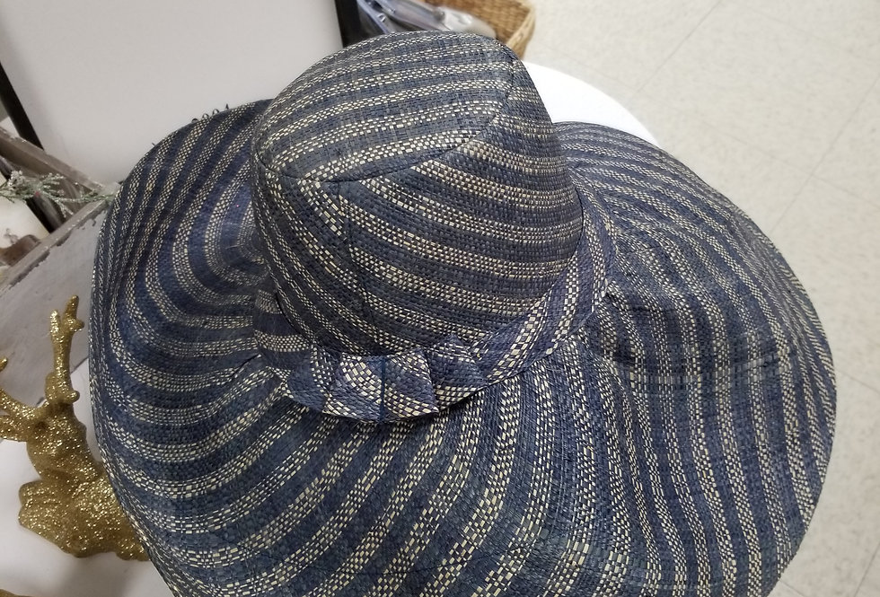 Wide Brim Stylish Sun Hat Blue with Natural Stripes with Bow  (995529)