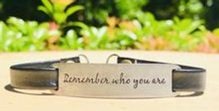 """Remember Who You Are"" Engraved Leather Bracelet"